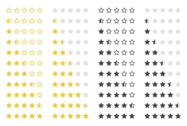 rating stars set - evaluation stock illustrations
