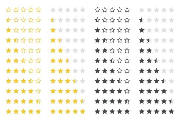 illustrations, cliparts, dessins animés et icônes de cote stars set - forme étoilée