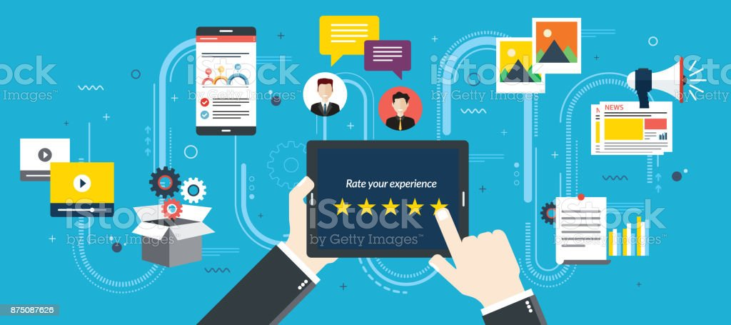 Rating system on tablet screen with five stars. vector art illustration