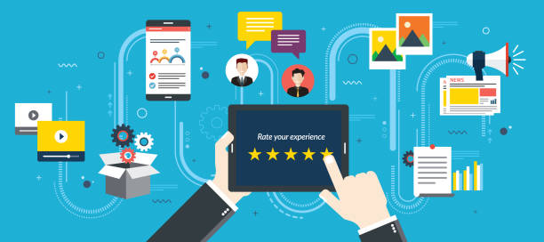 rating system on tablet screen with five stars. - digital marketing stock illustrations