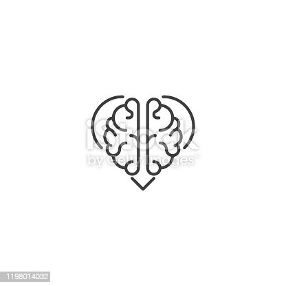 Rational love, brain heart. Vector icon template
