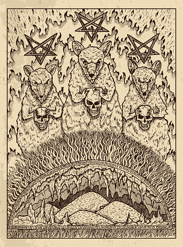 Rats. Mystic concept for Lenormand oracle tarot card.