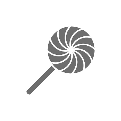 Rattle, lollipop, candy grey icon. Isolated on white background