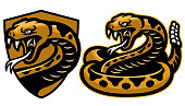 vector of rattle snake mascot in set