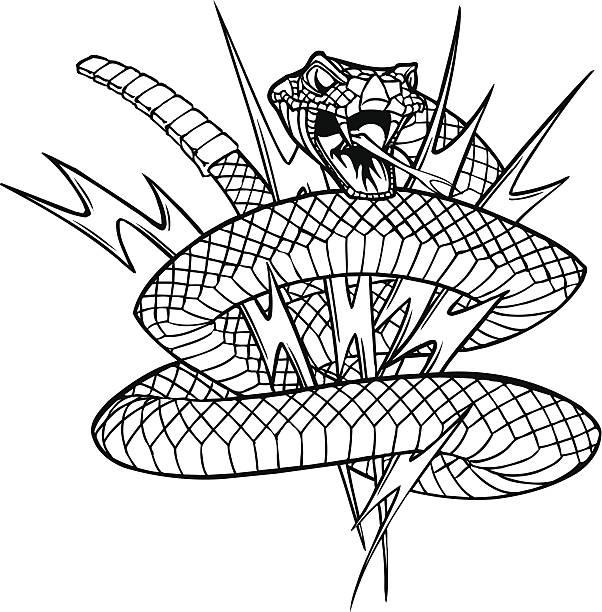Rattlesnake with lightning bolts vector art illustration