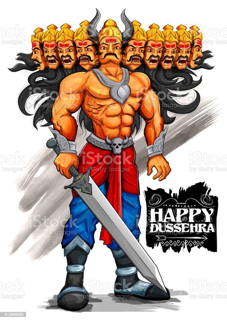 Ravana with ten heads for Dussehra vector art illustration