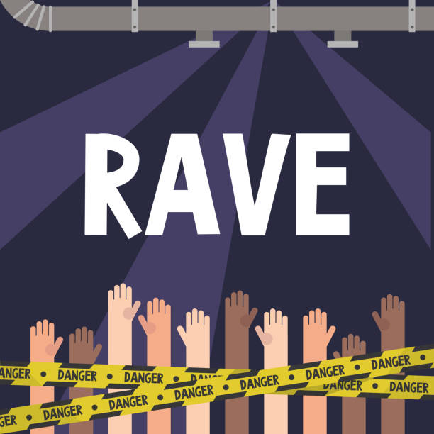 Rave. Illegal techno party in the industrial interiors. Raised hands. Party people. Youth culture. Techno music. Flat vector illustration, clip art Rave. Illegal techno party in the industrial interiors. Raised hands. Party people. Youth culture. Techno music. Flat vector illustration, clip art electronic music stock illustrations