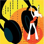 Illustration of a pair of  headphone and a girl dancing. The background can be used on is own as a starting point for many design.
