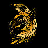 Raven and angel. Graphics. Gold. Defender. The Patron Of The Vector.