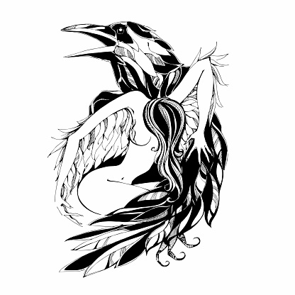 Raven and angel. Tattoo. Protector. Patron. Vector illustration.