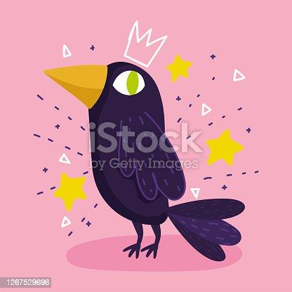 istock raven bird animal stars drawing cartoon 1267529696