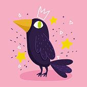 raven bird animal stars drawing cartoon vector illustration