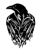 raven bird with closed wings - black and white vector outline