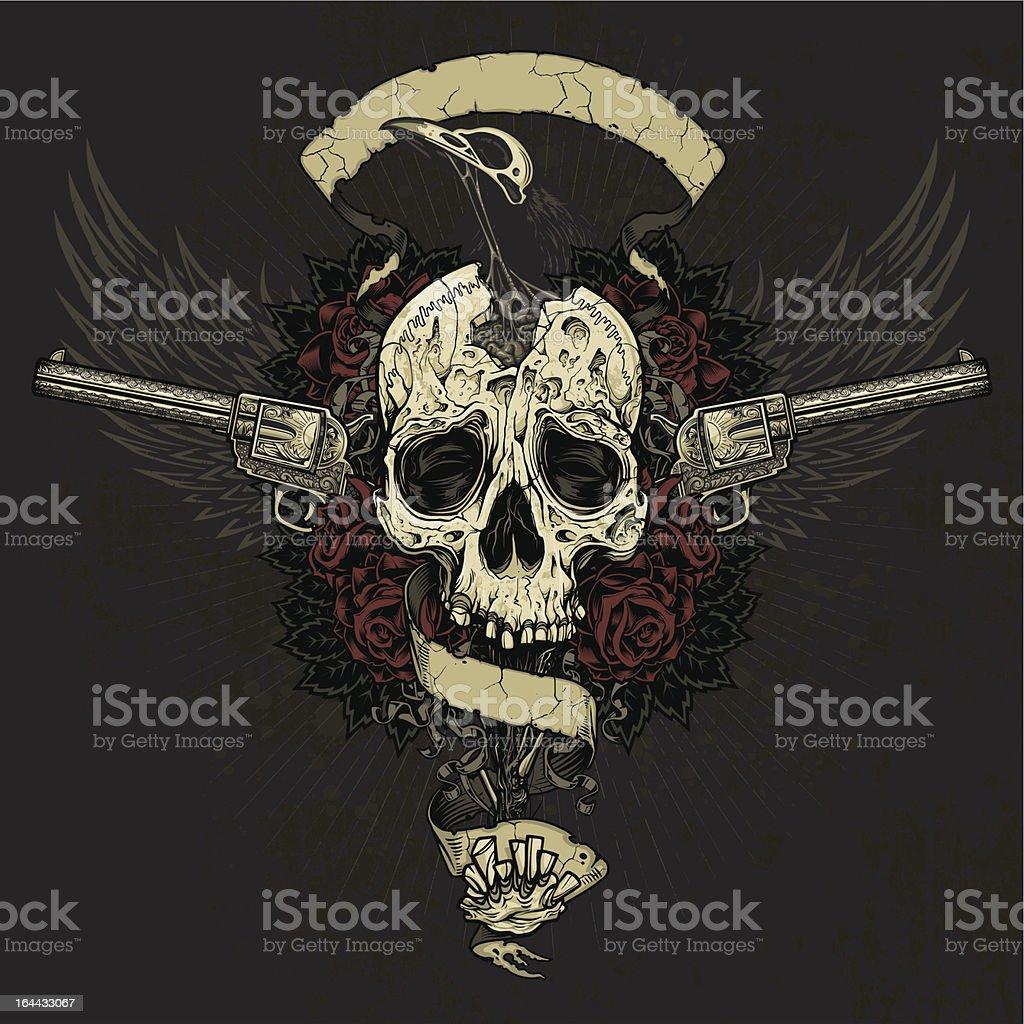 Raven Eating Skull Brains Collage vector art illustration