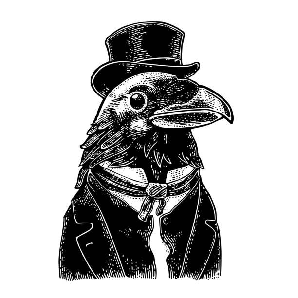 stockillustraties, clipart, cartoons en iconen met raven heren gekleed in pak en stropdas rechthoekige cilinder. vintage zwarte gravure - houtgravure