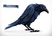 Raven. Happy Halloween 3d vector icon