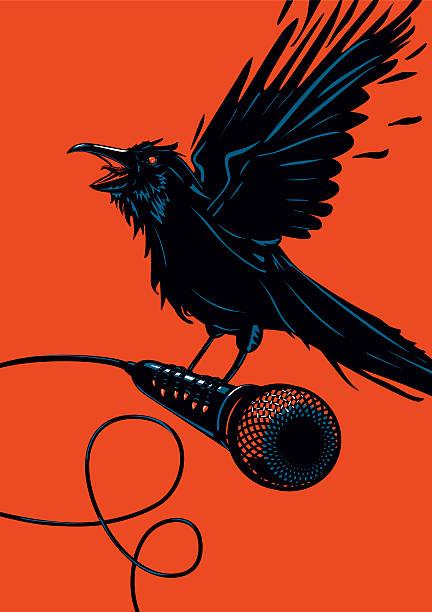 stockillustraties, clipart, cartoons en iconen met raven is holding a microphone - zanger vogel