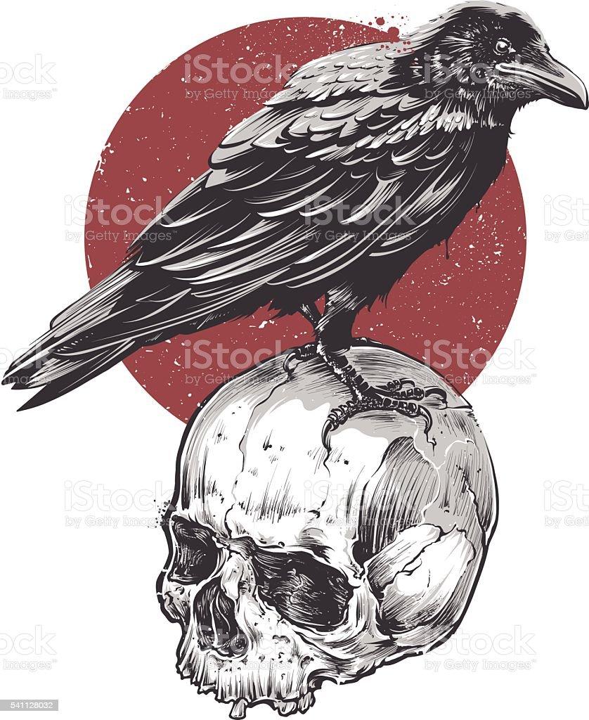 Raven on Skull vector art illustration