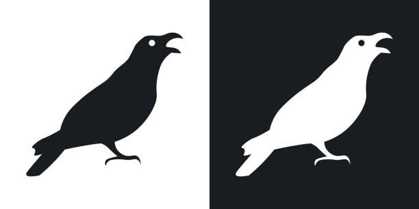 Rabe oder Krähe Silhouette, Halloween-Illustration. Vektorsymbol auf schwarzem und weißem Hintergrund – Vektorgrafik