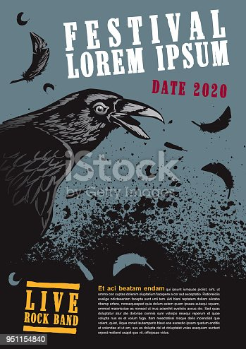 Vector Illustration of a Raven Poster Template with strong colors.