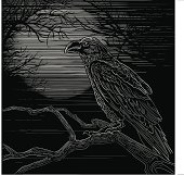 Raven against tree silhouetted full moon done in wood engraving style.