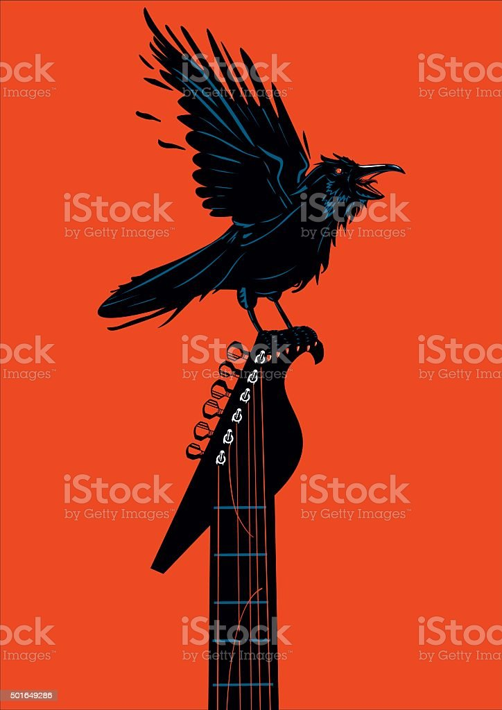 Raven with a guitar vector art illustration