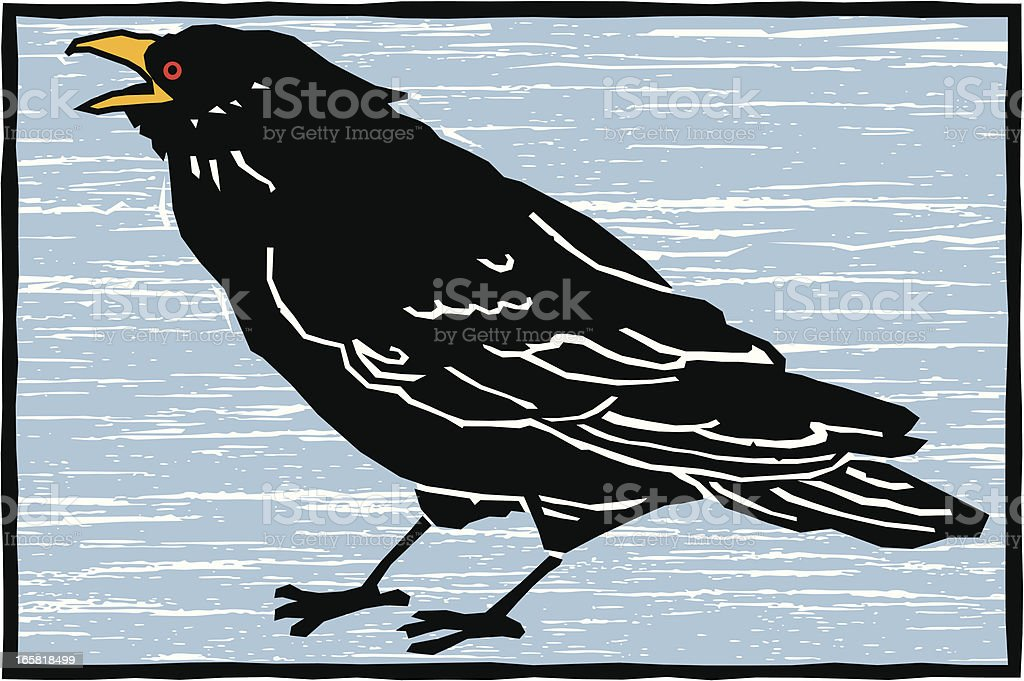 Raven Woodcut royalty-free stock vector art