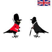 Ravens of the Tower of London - cartoon, royal guard. Vector illustration.