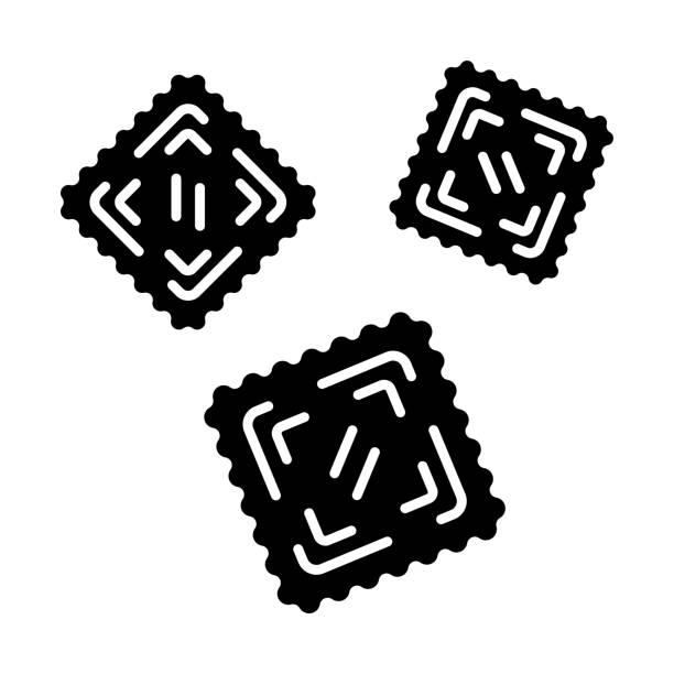 Ravioli glyph icon Ravioli glyph icon. Italian dish. Type of pasta. Classic agnolotti. Tortelli. Square dough products with filling. Mediterranean cuisine. Silhouette symbol. Negative space. Vector isolated illustration ravioli stock illustrations