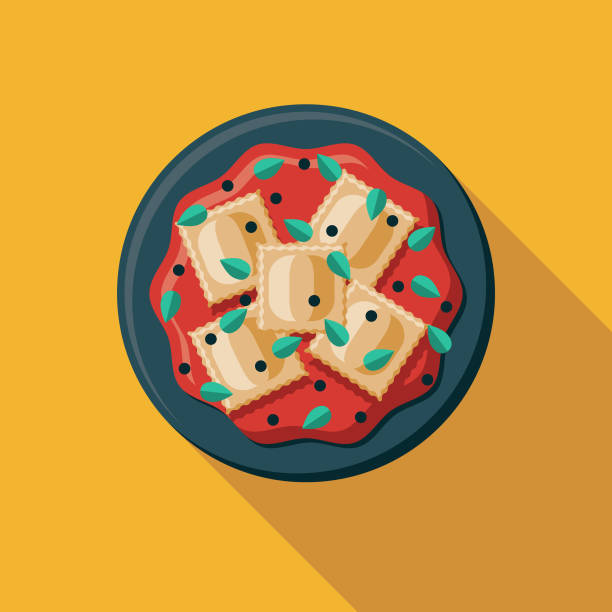 Ravioli Italian Food Icon A flat design Italian food icon with a long shadow. File is built in the CMYK color space for optimal printing. Color swatches are global so it's easy to change colors across the document. ravioli stock illustrations