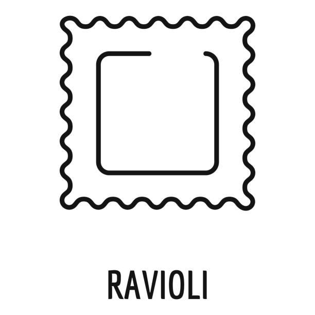 Ravioli pasta icon, outline style Ravioli pasta icon. Outline ravioli pasta vector icon for web design isolated on white background ravioli stock illustrations