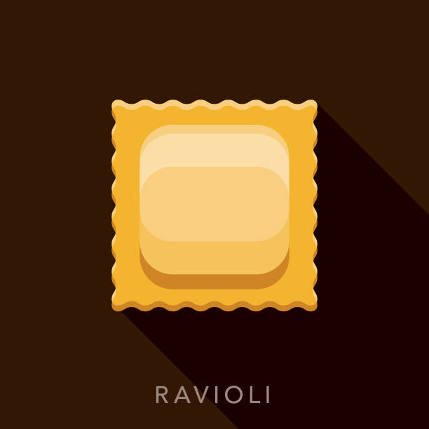 Ravioli Pasta Icon A flat design icon with a long shadow. File is built in the CMYK color space for optimal printing. Color swatches are global so it's easy to change colors across the document. ravioli stock illustrations