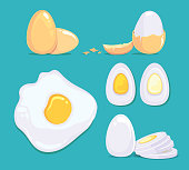 Raw and cooked eggs in different conditions. Vector cartoon pictures