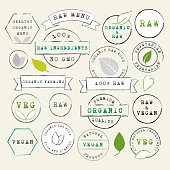 Raw and Vegan stamps set. Organic food labels. Healthy lifestyle. Vector Illustration.EPS10, Ai10, PDF, High-Res JPEG included.