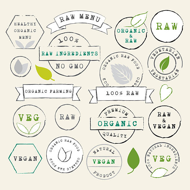 Raw and Vegan stamps set vector art illustration