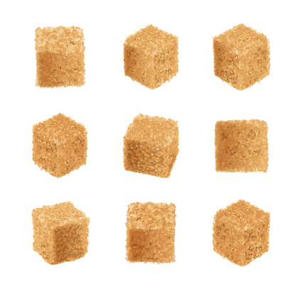Raw Brown Cane Sugar Cubes Isolated on White Background