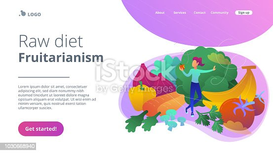 A white woman among fruits, vegetables and mushrooms. Raw diet, frutarianism landing page. Raw veganism, raw foodism, juicearianism and sproutarianism. Vector illustration on ultraviolet background.