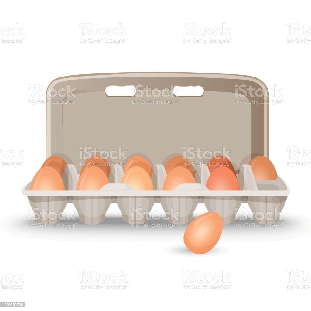Raw eggs in shell inside simple cardboard box vector art illustration