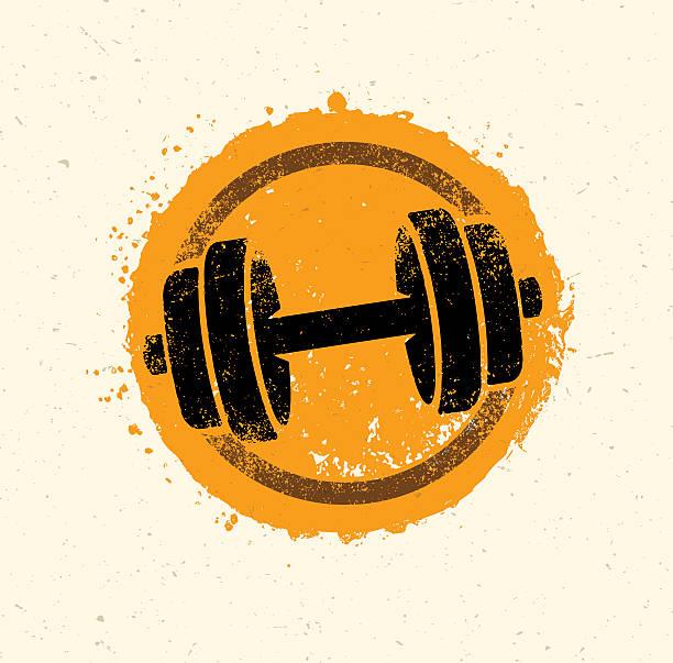 bildbanksillustrationer, clip art samt tecknat material och ikoner med raw fitness dumbbell icon on rough background - hantel