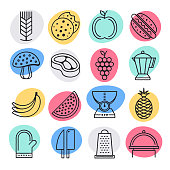 Raw food diets doodle style concept outline symbols. Line vector icon sets for infographics and web designs.