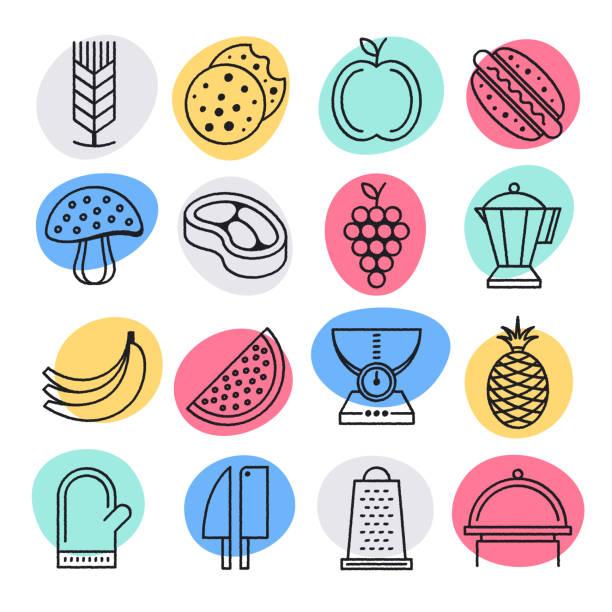 illustrazioni stock, clip art, cartoni animati e icone di tendenza di raw food diets doodle style vector icon set - organic food