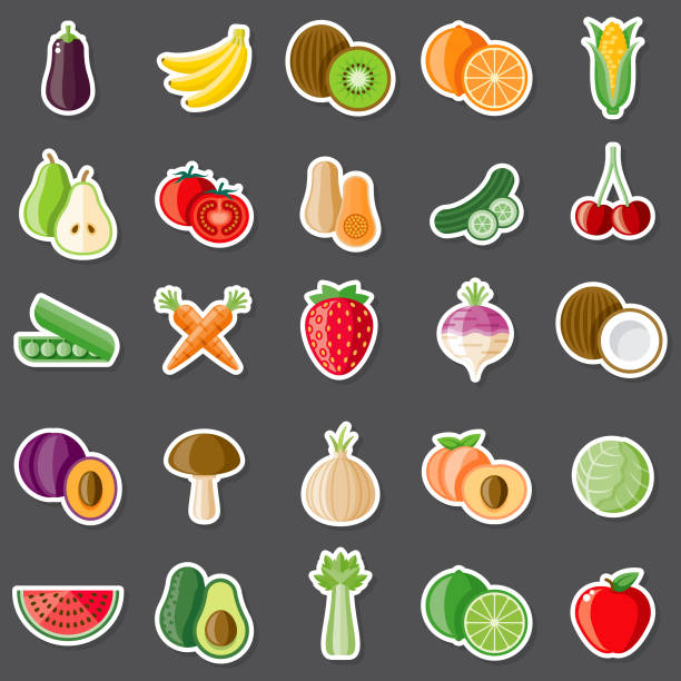 Raw Food Sticker Set A set of flat design sticker icons. File is built in the CMYK color space for optimal printing. Color swatches are global so it's easy to edit and change the colors. avocado clipart stock illustrations