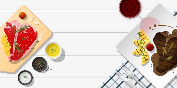 ilustraciones, imágenes clip art, dibujos animados e iconos de stock de carne fresca y carne a la parrilla t-bone steak en mesa blanca, fondo de alimentos saludables, vector, ilustración - comida cruda