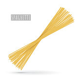 Raw spaghetti pasta realistic. Traditional Italian product for cooking different dishes, Bolognese, Carbonara and others. Delicious food icon isolated on white background. Vector illustration