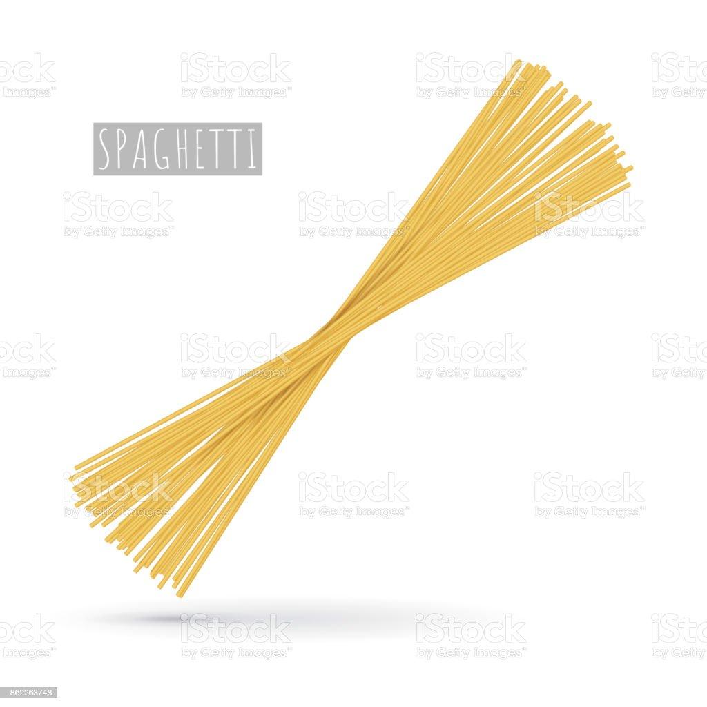 Raw spaghetti pasta realistic vector art illustration