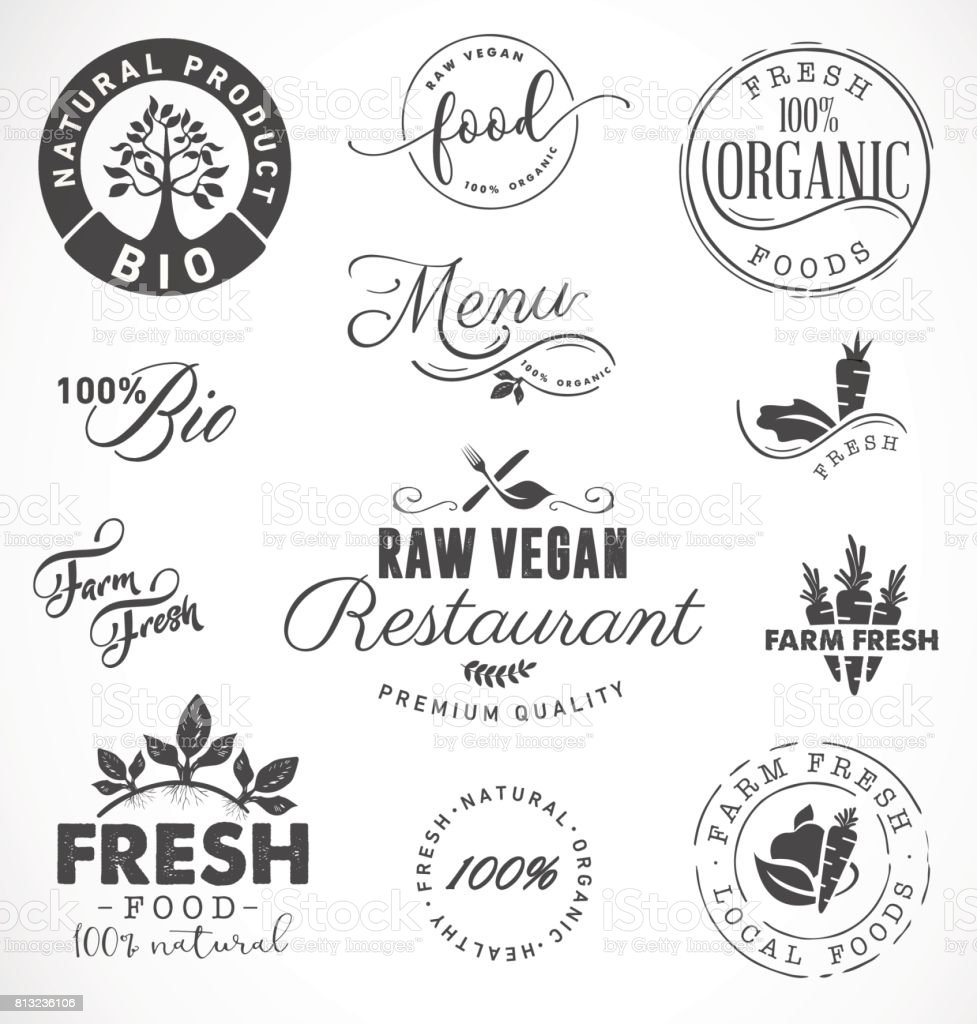 Raw Vegan Restaurant, Farm Fresh,Organic and BIO Food Labels and Badges in Vintage Style vector art illustration