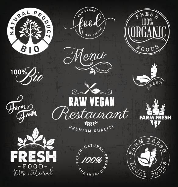 raw vegan restaurant, farm fresh,organic and bio food labels and badges in vintage style - paleo diet stock illustrations, clip art, cartoons, & icons
