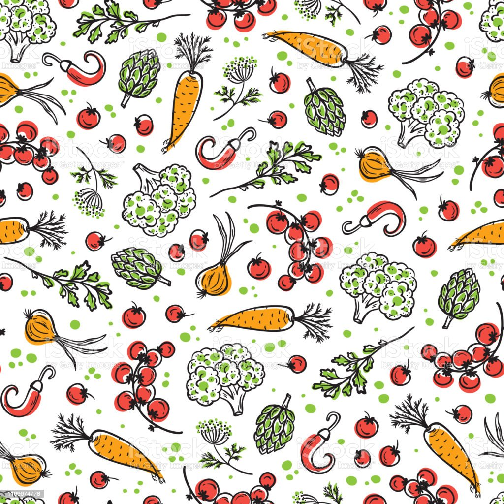 Raw Vegetables Seamless Pattern Healthy Food Background Stock Illustration Download Image Now Istock