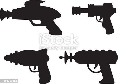 Vector silhouettes of a group of ray guns.