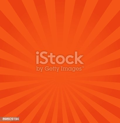Rays background vector illustration, orange or red ray from center backdrop